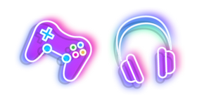 Neon Headphones and Joystick Curseur