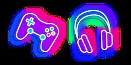 Neon Headphones and Joystick Cursor