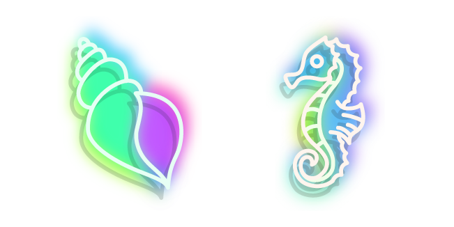 Neon Seahorse and Shell
