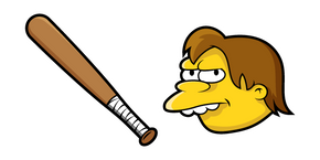 The Simpsons Nelson Muntz and Bat Curseur