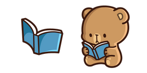 Cute Mocha Bear and Book Curseur
