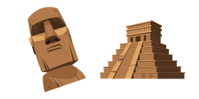 Mayan Pyramid and Moai Cursor