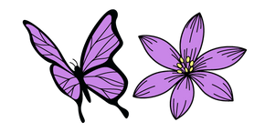 VSCO Girl Purple Flower and Butterfly Curseur