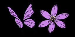 VSCO Girl Purple Flower and Butterfly Cursor