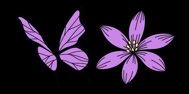 VSCO Girl Purple Flower and Butterfly