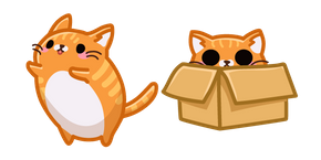 Cute Orange Cat in Box Cursor