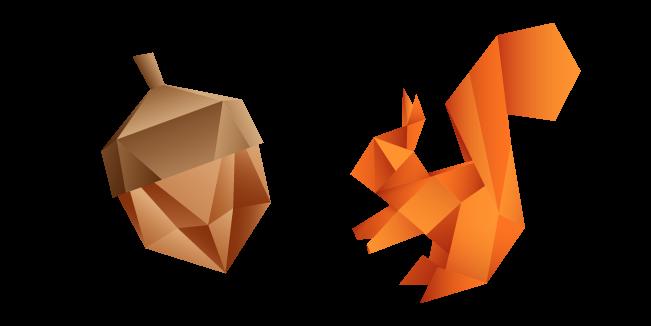 Origami Squirrel and Acorn