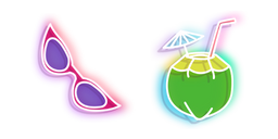 Neon Sunglasses and Coconut Drink Cursor