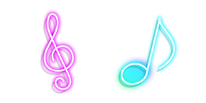 Neon Treble Clef and Note Curseur