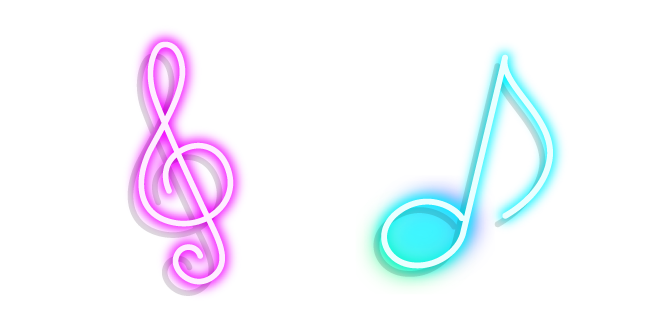 Neon Treble Clef and Note