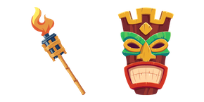 Tiki Mask and Burning Torch Cursor