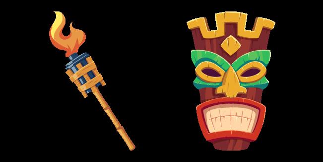 Tiki Mask and Burning Torch