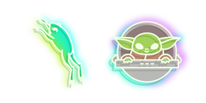 Neon Baby Yoda and Frog Curseur