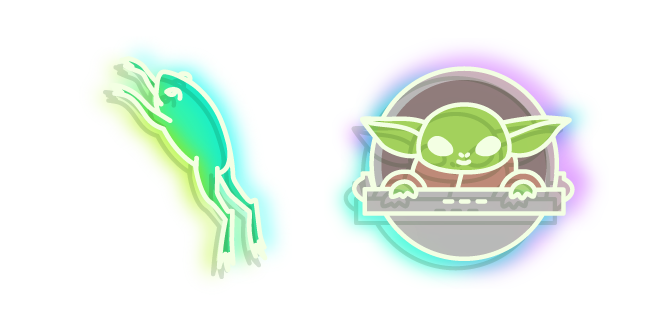 Неоновый Малыш Йода и Лягушка