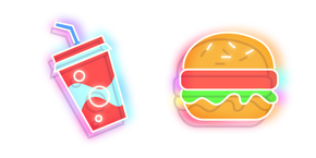 Neon Soda and Burger Cursor