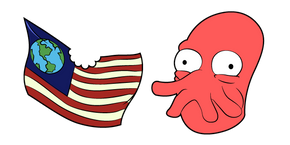 Futurama Dr. Zoidberg and Flag Cursor