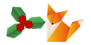 Origami Fox and Berry Curseur