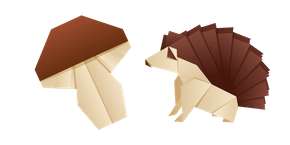 Origami Hedgehog and Mushroom Cursor