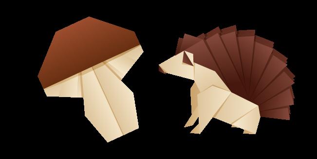 Origami Hedgehog and Mushroom