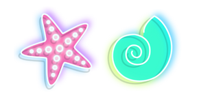 Neon Starfish and Shell Cursor