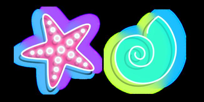 Neon Starfish and Shell