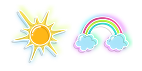 Neon Sun and Rainbow Cursor