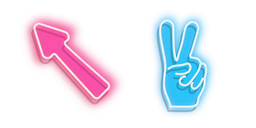 Pink Arrow and Blue Peace Hand Neon Curseur