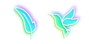 Neon Hummingbird and Feather Cursor