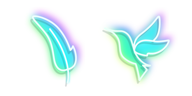 Neon Hummingbird and Feather