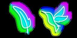 Neon Hummingbird and Feather Cursor