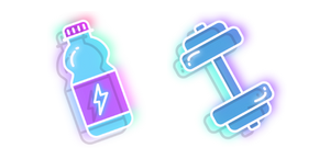 Neon Water Bottle and Dumbbell Curseur