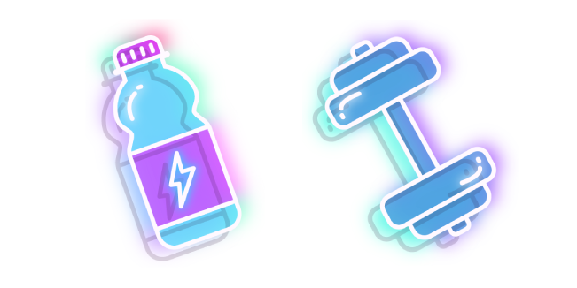 Neon Water Bottle and Dumbbell