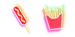 Neon Corn Dog and French Fries Curseur