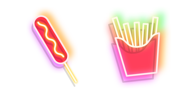 Neon Corn Dog and French Fries