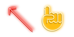 Red Arrow and Yellow Pointer Hand Neon Cursor