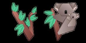 Origami Koala and Eucalyptus Cursor