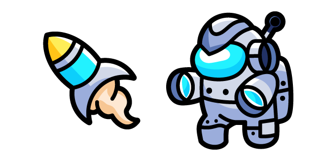 Among Us Cyborg Character and Rocket
