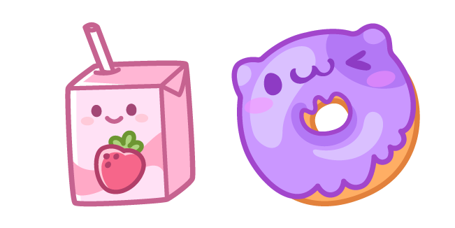 Cute Strawberry Milk and Donut