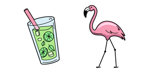 VSCO Girl Flamingo and Lemonade Cursor
