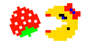 Pixel Ms. Pac-Man and Strawberry Cursor