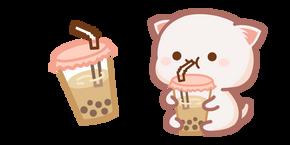Cute Mochi Mochi Peach Cat and Bubble Tea Cursor