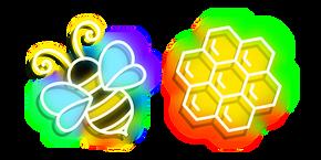 Neon Bee and Honeycomb Cursor