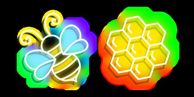 Neon Bee and Honeycomb