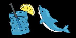 Курсор VSCO Girl Дельфин и Лимонная Газировка