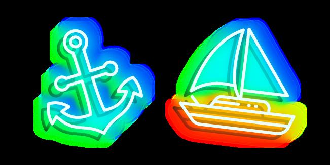 Neon Sailboat and Anchor