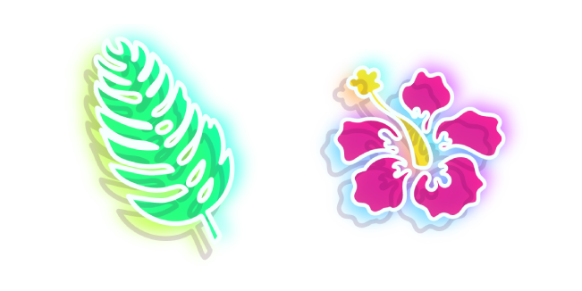 Neon Flower and Leaf