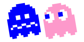 Pixel Pac-Man Pinky and Blue Ghost Cursor