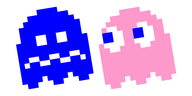 Pixel Pac-Man Pinky and Blue Ghost