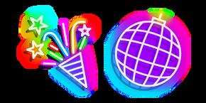 Neon Disco Ball and Party Popper Cursor