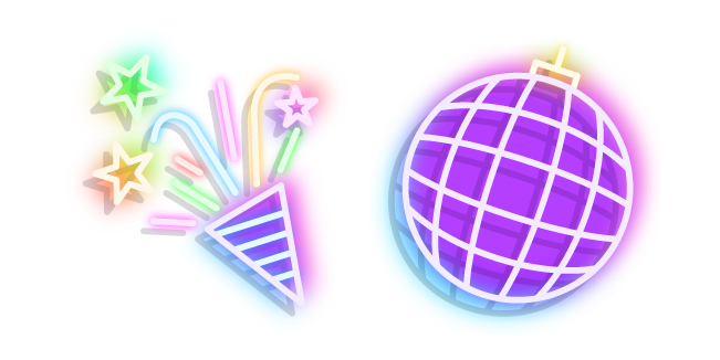 Neon Disco Ball and Party Popper